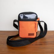 Shoulder bag personalizada preta e laranja KSHO100